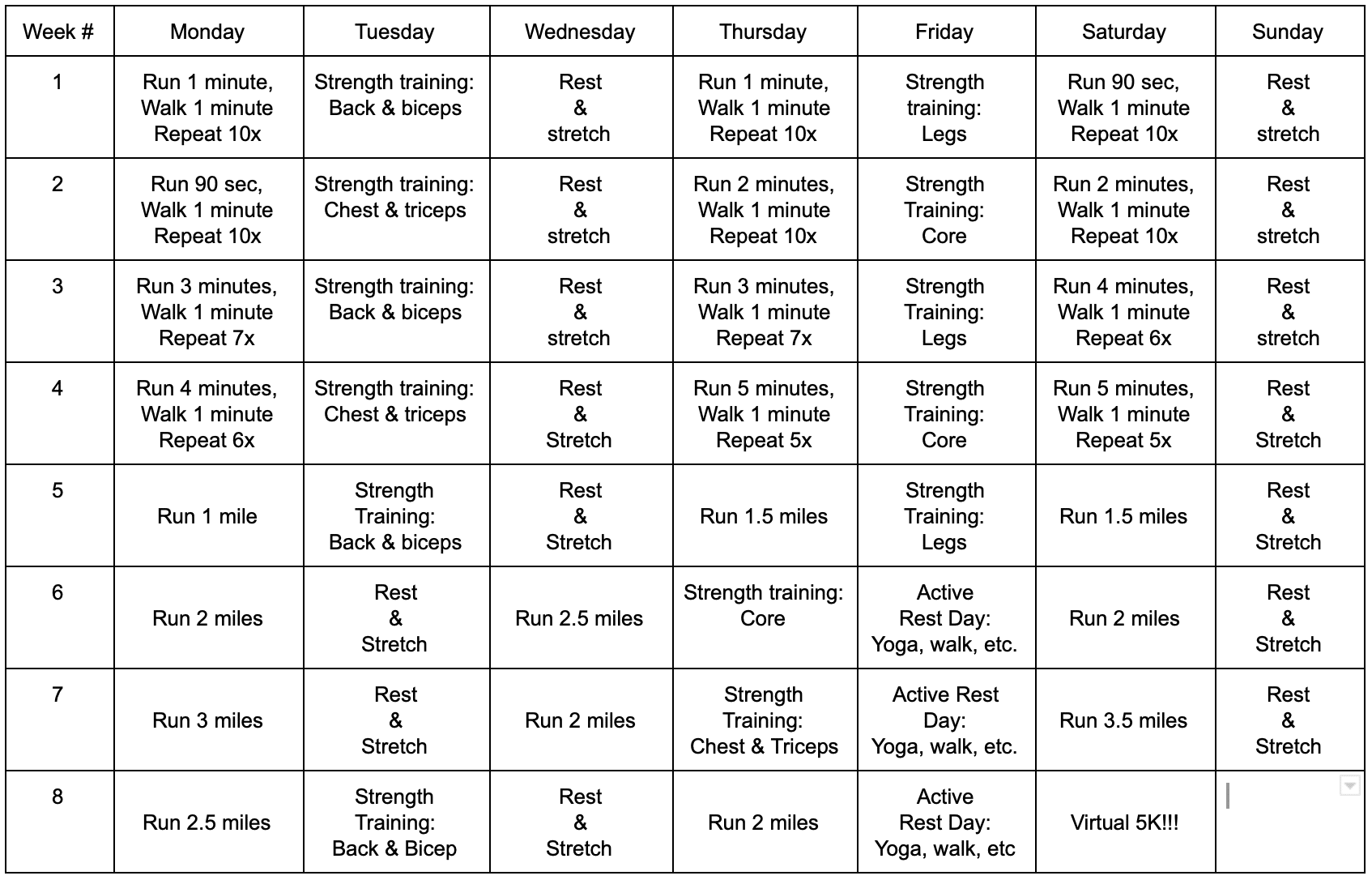 Virtual Couch to 5K 8-week schedule